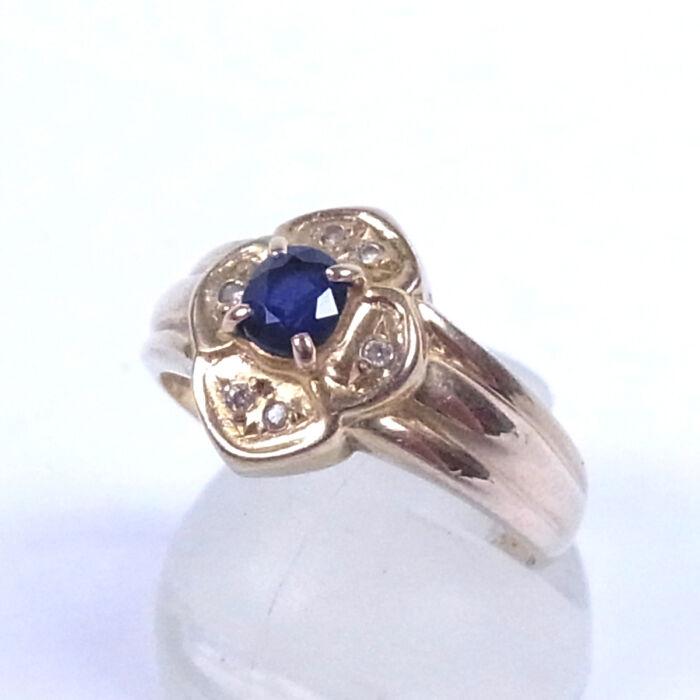 ジュエリーマキ K18 18金 青石 ダイヤ デザインリング
